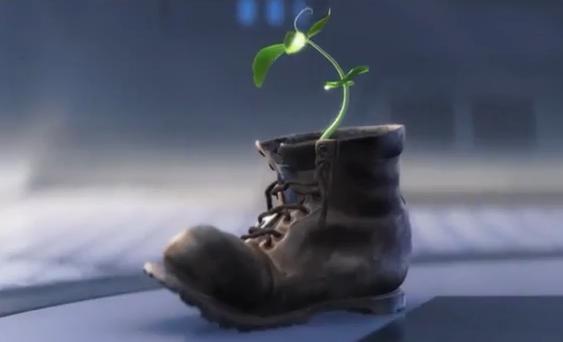 这棵植物被放在鞋子里也不是偶然。这象征着人类会重新站起来。